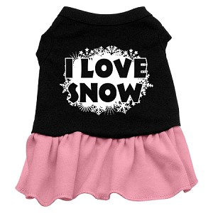 I Love Snow Screen Print Dress Black with Light Pink XL (16)