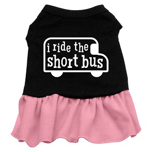 I ride the short bus Screen Print Dress Black with Light Pink XXL (18)