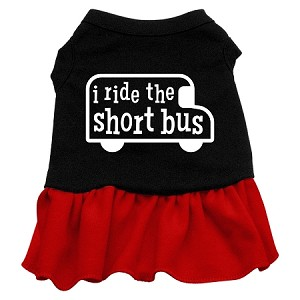 I ride the short bus Screen Print Dress Black with Red Lg (14)