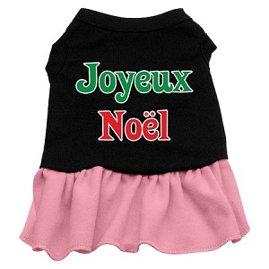 Joyeux Noel Screen Print Dress Black with Pink XXL (18)