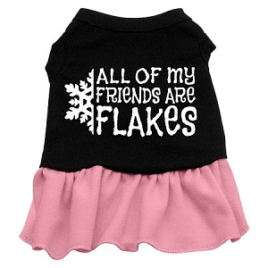 All my friends are Flakes Screen Print Dress Black with Light Pink Sm (10)