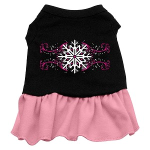 Pink Snowflake Screen Print Dress Black with Light Pink XS (8)