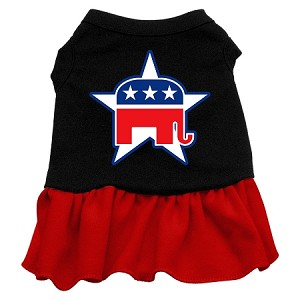 Republican Screen Print Dress Black with Red Lg (14)