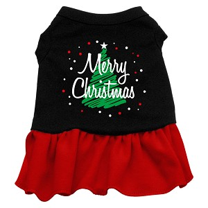 Scribble Merry Christmas Screen Print Dress Black with Red XXL (18)
