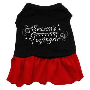 Seasons Greetings Screen Print Dress Black with Red Sm (10)