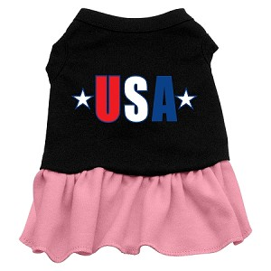USA Star Screen Print Dress Black with Light Pink Lg (14)