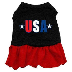 USA Star Screen Print Dress Black with Red Lg (14)