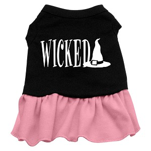 Wicked Screen Print Dress Black with Light Pink XL (16)
