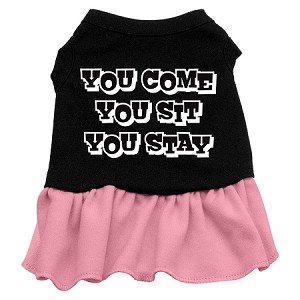You Come, You Sit, You Stay Screen Print Dress Black with Pink Lg (14)
