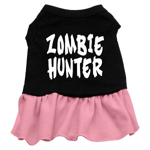Zombie Hunter Screen Print Dress Black with Light Pink XXXL (20)