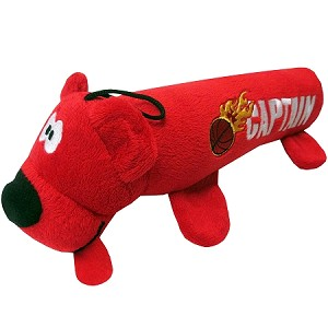 BasketBall Plush Squeaky Tube Dog Toy Red