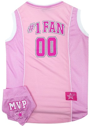 Basketball Pet Jersey and Bandana Combo Pink Small