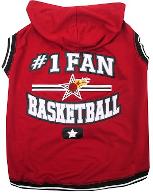 Basketball Hooded Pet Shirt Red Medium