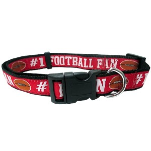 Football Dog Collar Red Large