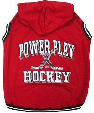 Hockey Hooded Pet Sweatshirt Red Small