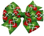 Hair Bow Christmas Argyle French Barrette