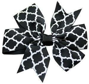 Hair Bow Quatrefoil French Barrette Black