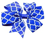 Hair Bow Quatrefoil French Barrette Blue