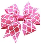 Hair Bow Quatrefoil French Barrette Bright Pink