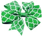 Hair Bow Quatrefoil French Barrette Green