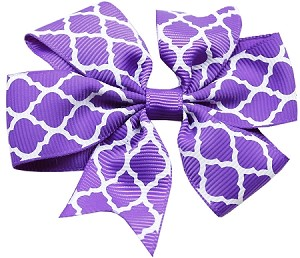 Hair Bow Quatrefoil Alligator Clip Purple