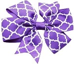 Hair Bow Quatrefoil French Barrette Purple