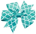 Hair Bow Quatrefoil French Barrette Turquoise