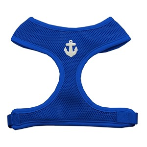 White Anchors Chipper Blue Harness Large