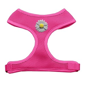 White Daisies Chipper Pink Harness Large