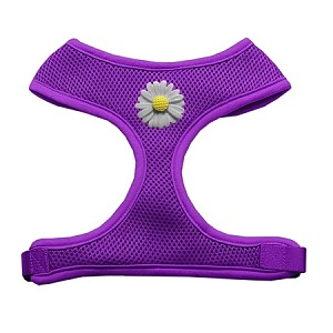 White Daisies Chipper Purple Harness Medium