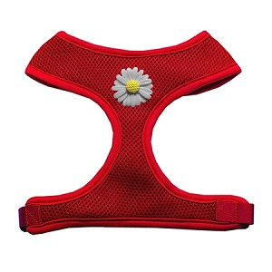 White Daisies Chipper Red Harness Small