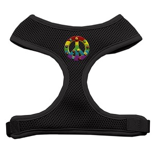 Rainbow Peace Sign Chipper Black Harness Large