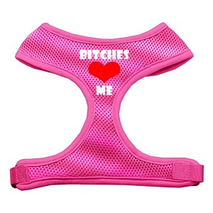 Bitches Love Me Soft Mesh Harnesses Pink Extra Large