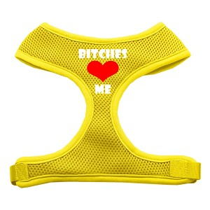 Bitches Love Me Soft Mesh Harnesses Yellow Large
