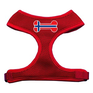 Bone Flag Norway Screen Print Soft Mesh Harness Red Medium