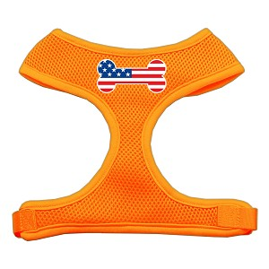 Bone Flag USA Screen Print Soft Mesh Harness Orange Large