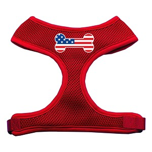 Bone Flag USA Screen Print Soft Mesh Harness Red Extra Large
