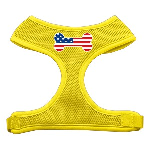 Bone Flag USA Screen Print Soft Mesh Harness Yellow Large