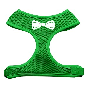 Bow Tie Screen Print Soft Mesh Harness Emerald Green Extra Large
