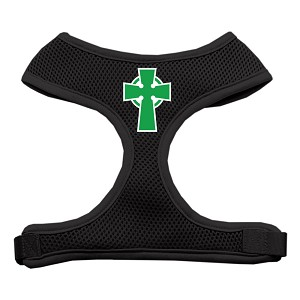Celtic Cross Screen Print Soft Mesh Harness Black Small