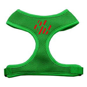 Christmas Paw Screen Print Soft Mesh Harness Emerald Green Large
