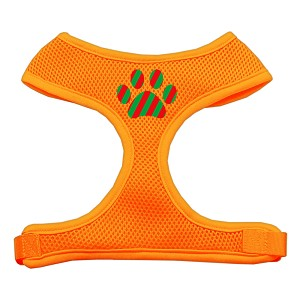 Christmas Paw Screen Print Soft Mesh Harness Orange Large