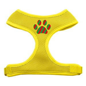 Christmas Paw Screen Print Soft Mesh Harness Yellow Large