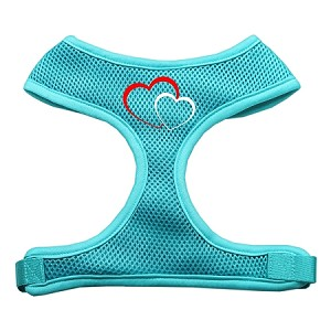 Double Heart Design Soft Mesh Harnesses Aqua Small