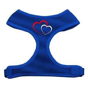 Double Heart Design Soft Mesh Harnesses Blue Extra Large