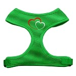 Double Heart Design Soft Mesh Harnesses Emerald Green Small
