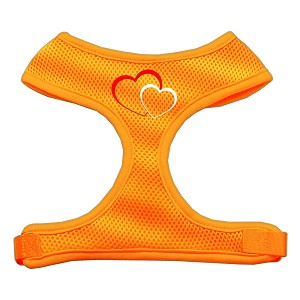 Double Heart Design Soft Mesh Harnesses Orange Medium