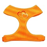 Double Heart Design Soft Mesh Harnesses Orange Small