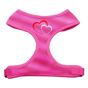 Double Heart Design Soft Mesh Harnesses Pink Extra Large