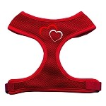 Double Heart Design Soft Mesh Harnesses Red Small